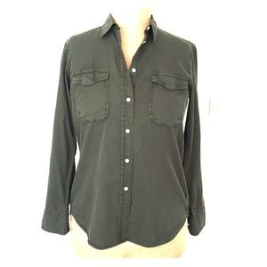 Vince army green collar/button down shirt. Sz S